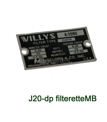 Data plate, filterette, MB